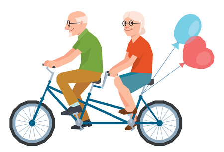 married together: Vector senior married a loving couple riding a tandem bike