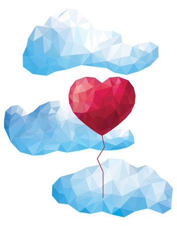 low poly: Vector heart balloon in the clouds in the style of a triangular low poly Illustration