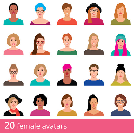 attractive woman: Stock illustration large set of avatars attractive woman on a white background icons in flat style Illustration