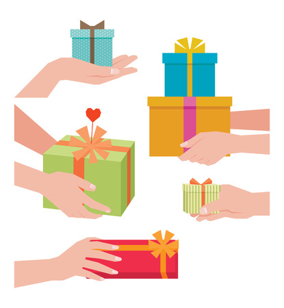 hand hold: Stock illustration of a hand giving a gift box isolated on white background Illustration