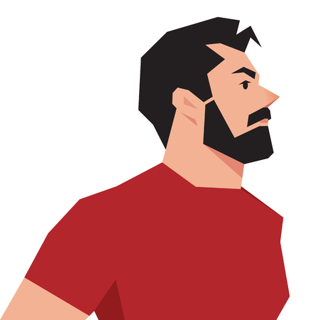 handsome guy: illustration of a stylized portrait of a hipster man on a white background