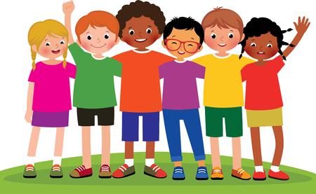Ilustración de la historieta de un grupo de amigos de los niños sobre un fondo blanco