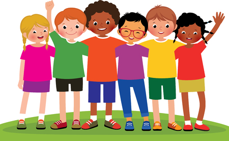Stock cartoon illustration of a group of children friends on a white background