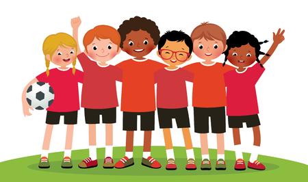ropa deportiva: Ilustración equipo internacional niños del grupo de fútbol sobre un fondo blanco