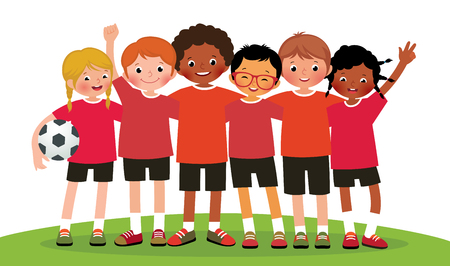 girl in sportswear: Stock illustration international group kids soccer team on a white background