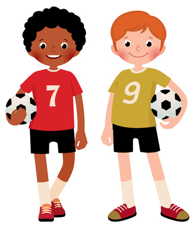 full length portrait: Stock illustration of two children boys football players isolated on white background Illustration