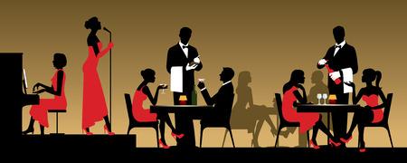 piano: La gente en la discoteca o restaurante que se sientan en una mesa de la ilustración