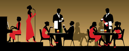 sitting at table: People in night club or restaurant sitting at a table Stock  illustration