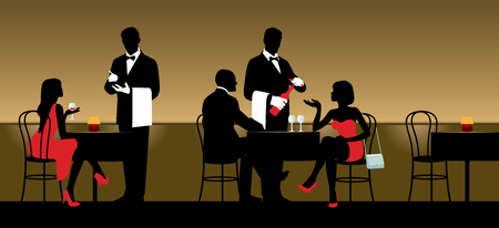 serving people: People resting in night club or restaurant and the waiters serving them illustration