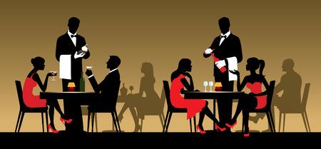 gente sentada: Siluetas de personas sentadas en las mesas en un restaurante o club nocturno de la ilustración