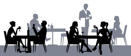 pareja comiendo: Siluetas de personas sentadas en las mesas en el restaurante o cafetería de la ilustración