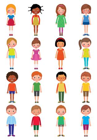 Vetor Cartoon-Illustration eines Satzes von Kinder Mädchen und Jungen auf einem weißen Hintergrund