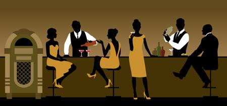 personas sentadas: Siluetas de un grupo de gente bebiendo en un bar de la ilustración