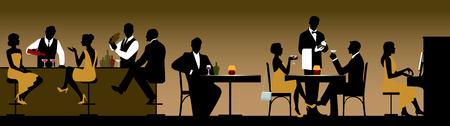 レストランやバーのストック イラストの人々 の休日メーカーのグループのシルエット  イラスト・ベクター素材
