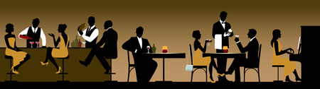 dating: Silhouettes of a group of people holiday makers in a restaurant or bar Stock illustration