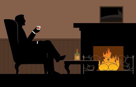 silueta hombre: Hombre con un vaso en la mano sentado en la silla junto a la chimenea de la ilustración Vectores