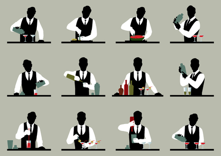 the bartender: Set of silhouettes of a bartender prepares cocktails Stock illustration