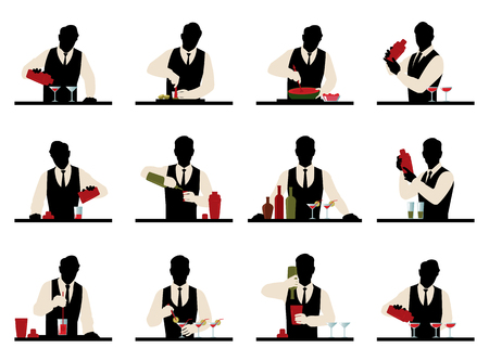 Set of silhouettes of a bartender prepares cocktails stock illustration