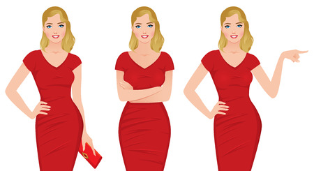 hairdress: Beautiful blonde woman in a red dress in various poses Stock illustration