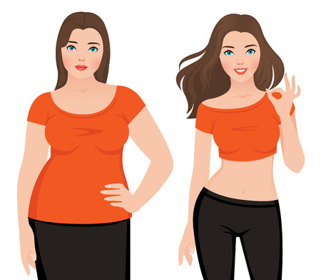 Before and after weight loss fat and slim woman on a white background illustration Çizim