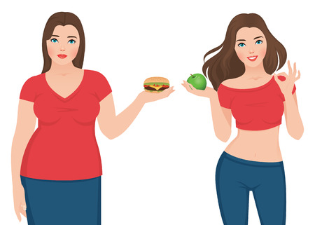 Fat and slim woman before and after weight loss Stock illustration