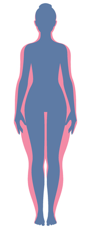 weight loss: Before and after losing weight woman body silhouette Stock illustration