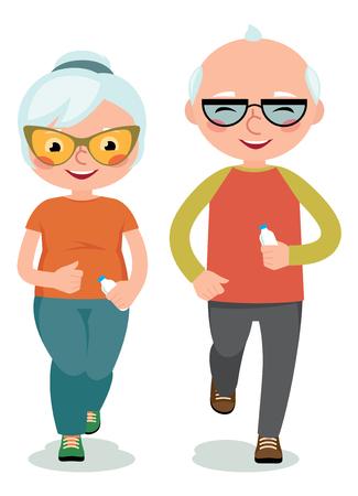 personas mayores: pareja madura dedica ropa deportiva que activa la ilustración Vectores