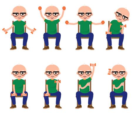mature: Senior man doing exercises with dumbbells sitting on a chair Stock illustration Illustration