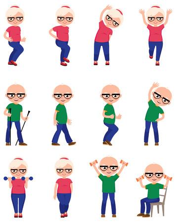 Conjunto de personas de edad avanzada hacen diferentes ejercicios de los deportes de la ilustración