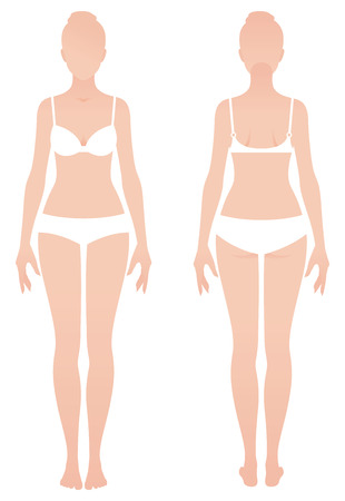 nude woman standing: Young naked woman in underwear in front and back view Stock illustration Illustration