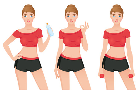 Young sporty woman in sportswear in different poses Stock illustration