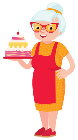 happy woman: Grandmother baked a cake Illustration