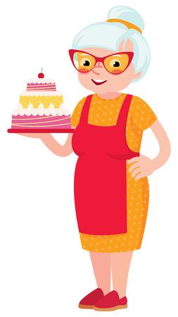 older woman smiling: Grandmother baked a cake Illustration
