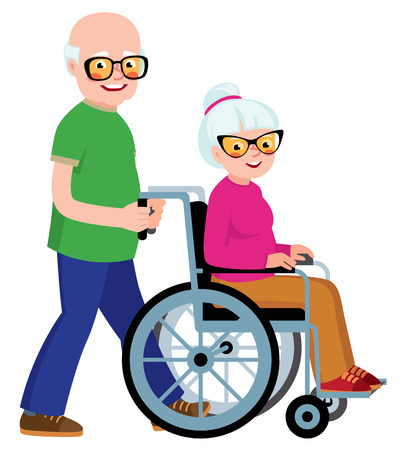 infirmity: Married couple senior man and his wife in a wheelchair Illustration