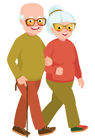 happy mature couple: Married senior couple on a walk Illustration