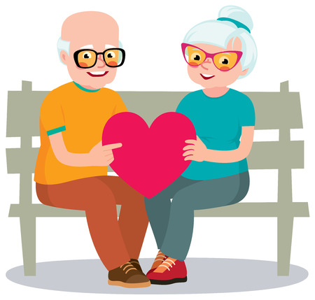 older woman smiling: Senior married couple sits on a bench holding a heart symbol Illustration