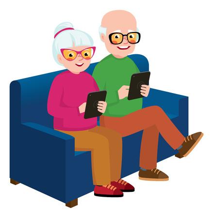 Senior paar man en vrouw zittend op de bank met een computer tablet in handen Vector Illustratie