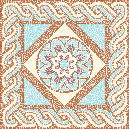 craftsmanship: Background color mosaic in the ancient style Illustration