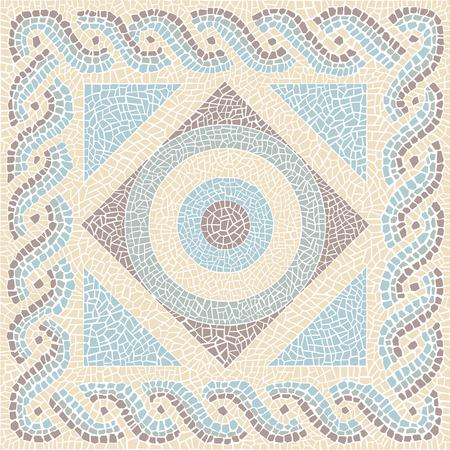 romana: Con color de fondo de mosaico de estilo antiguo Vectores