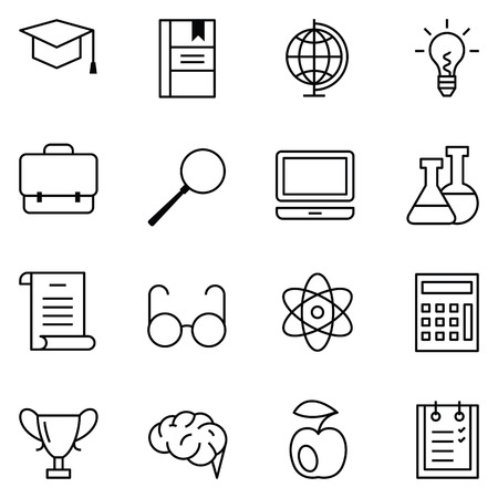 studying computer: Set of linear web icons education and learning