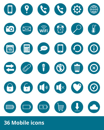 contact icon: Set of web icons Mobile Phones Illustration