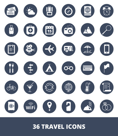 Set of web icons Travel and tourism