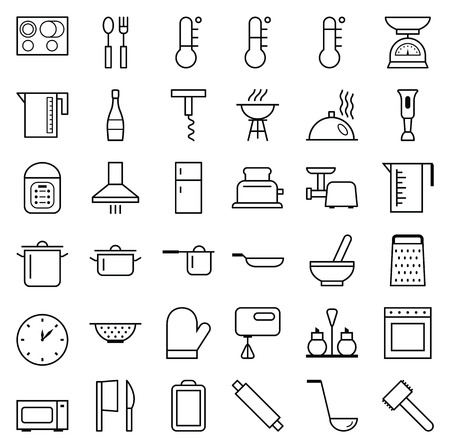 food preparation: Set of web icons line food cooking, kitchen and accessories Illustration
