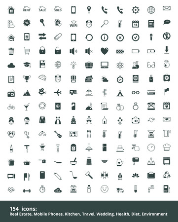 Set of web icons on a theme real estate, mobile communications, education, travel, cooking, kitchen, healthy lifestyle, wedding, ecology