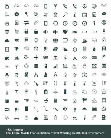 Ustaw internetowych ikon na temat nieruchomości, komunikacji mobilnej, edukacja, podróże, gotowanie, kuchnia, zdrowy tryb życia, ślub, ekologia