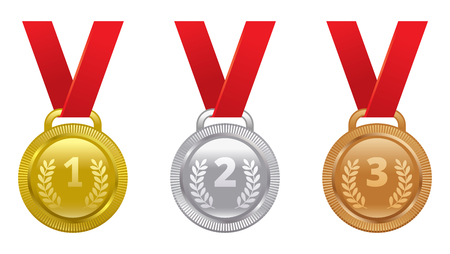 second: set of sports awards gold, silver and bronze medals Illustration