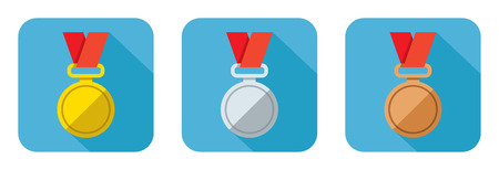 bronze medal: Set of flat icons vector gold silver and bronze medal Illustration