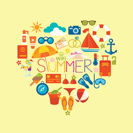 Set symbols and icons summer and vacation on the beach illustration