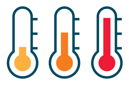 hot temperature: Three thermometer showing the temperature from warm to very hot Illustration