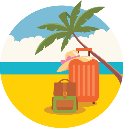 packing suitcase: Stock vector illustration of baggage and a hat on a summer beach